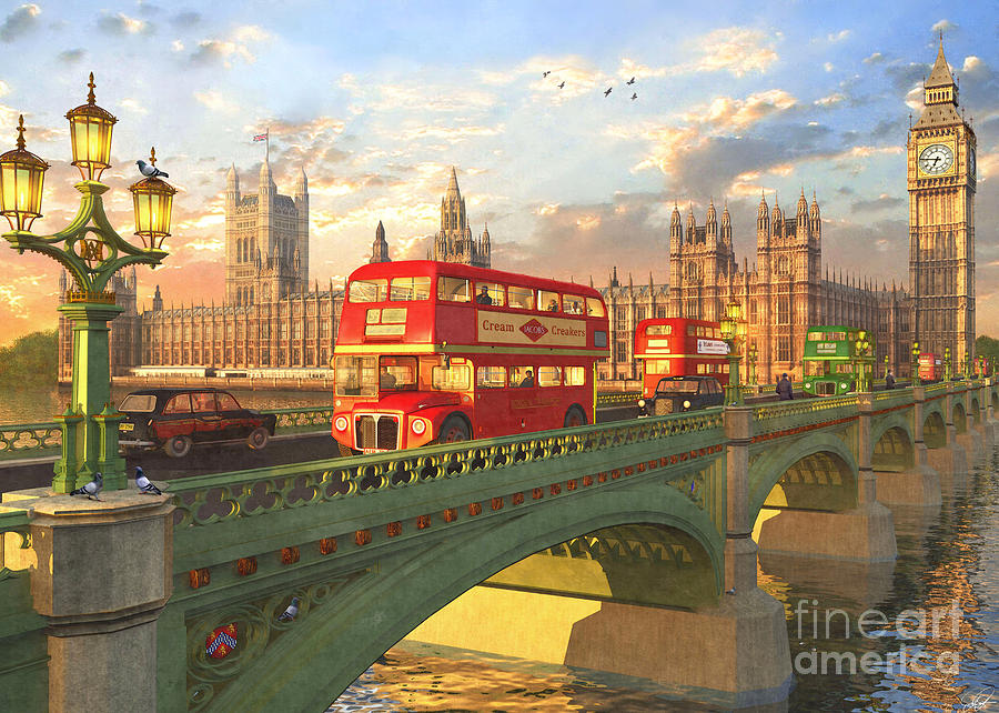 London Digital Art - Westminster Bridge by MGL Meiklejohn Graphics Licensing