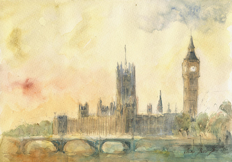 London Painting - Westminster Palace And Big Ben London by Juan Bosco