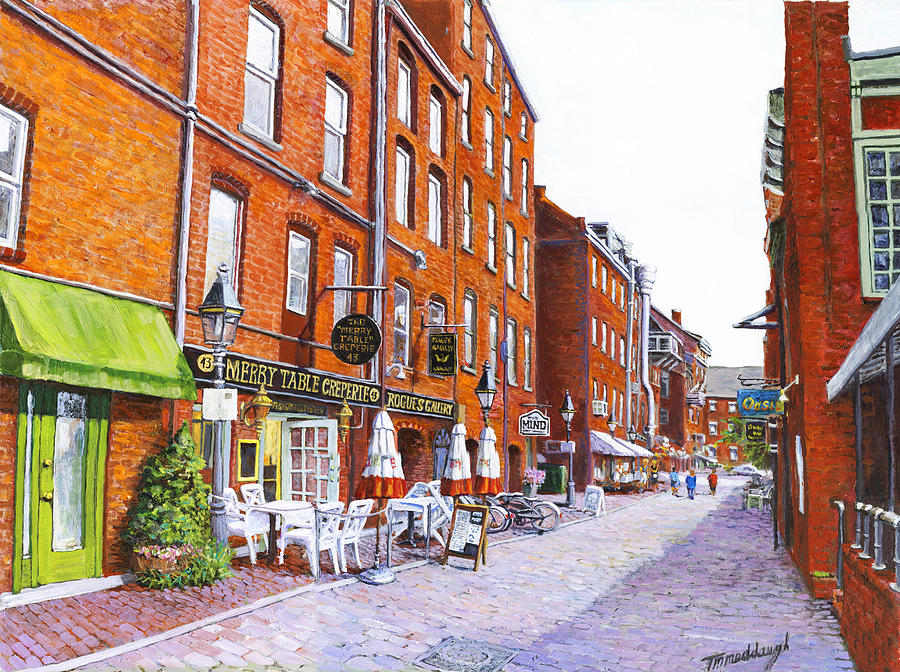 Portland Painting - Wharf Street Portland Maine by Thomas Michael Meddaugh