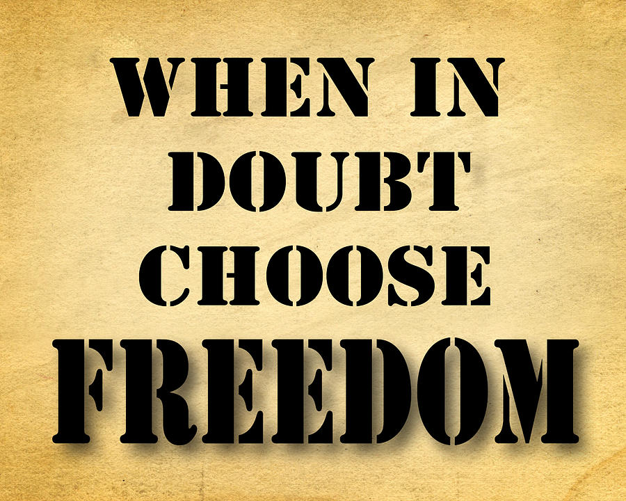 When In Doubt Choose Freedom Pop Art Quotes Photograph By Keith