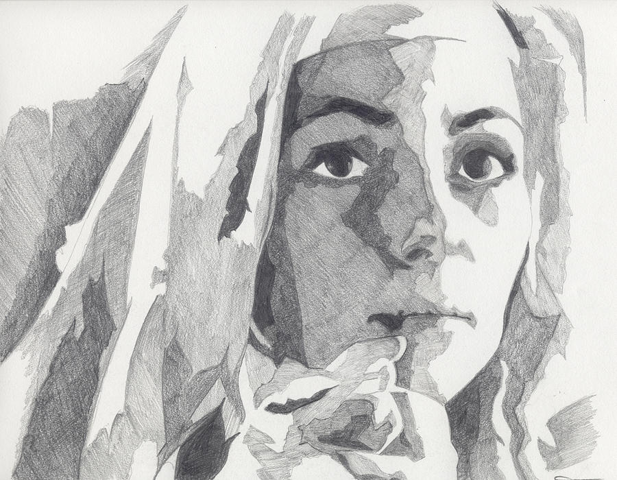 Mary Painting - Whisper Words Of Wisdom... Working Pencil Sketch by Michael James Toomy