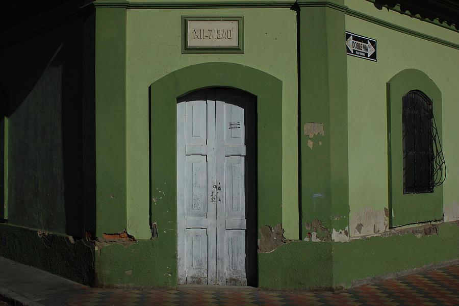Door Photograph - White Door In A Green Wall by Robert Hamm