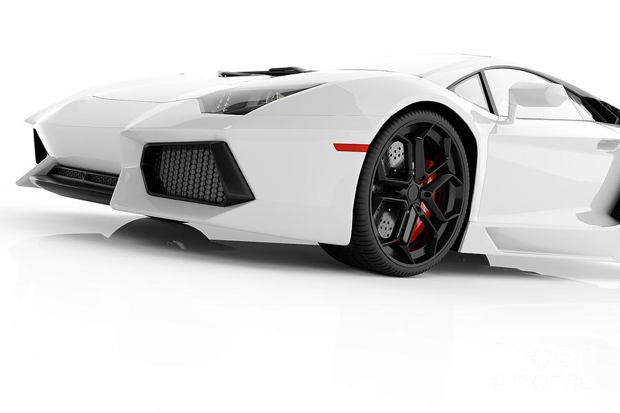 White Metallic Fast Sports Car On White Background Studio. Shiny Photograph