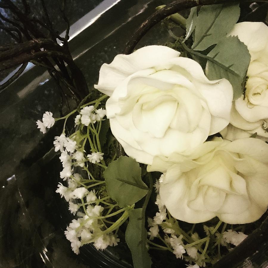White Mixed Media - White Roses  by Katherine Anne Densing
