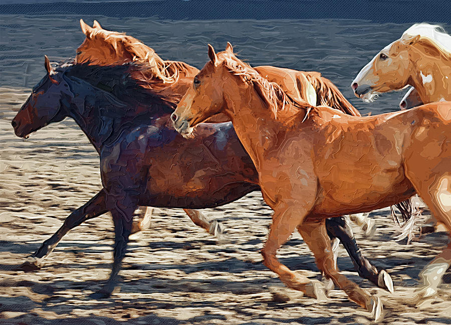 Wild Horses Running Painting by Clarence Alford
