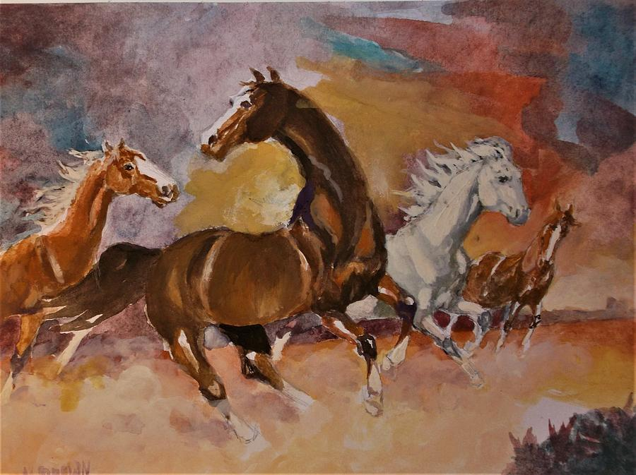 Wild Horses Painting - Wild Rovers by Al Brown