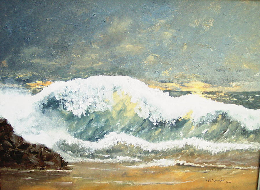 Wild Wave Painting by Miroslaw  Chelchowski