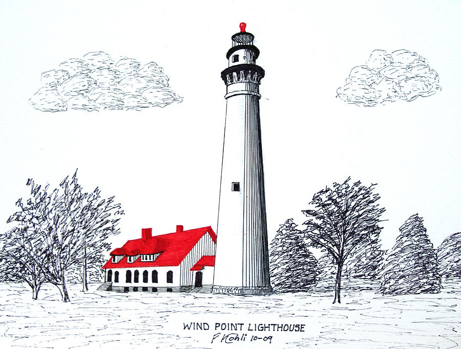 Lighthouse Drawings Drawing - Wind Point Lighthouse by Frederic Kohli