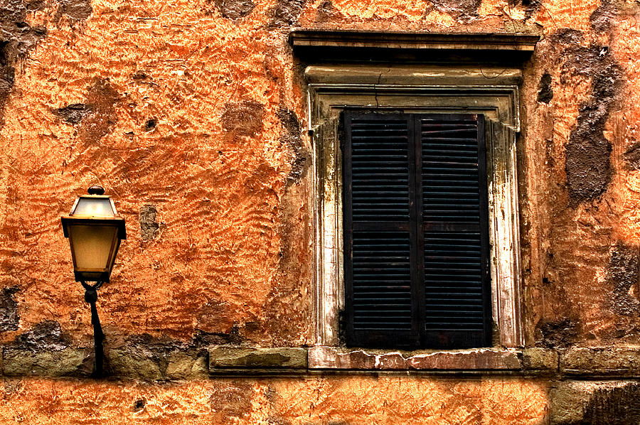 Window And Lamp Rome Italy Photograph by Xavier Cardell
