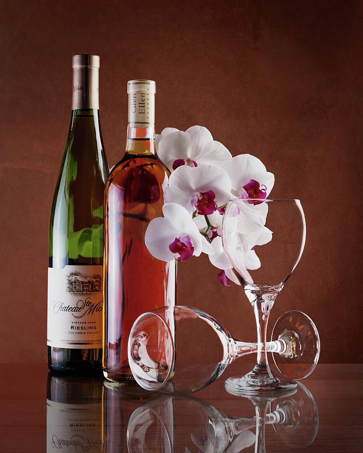 Alcohol Photograph - Wine And Orchids Still Life by Tom Mc Nemar