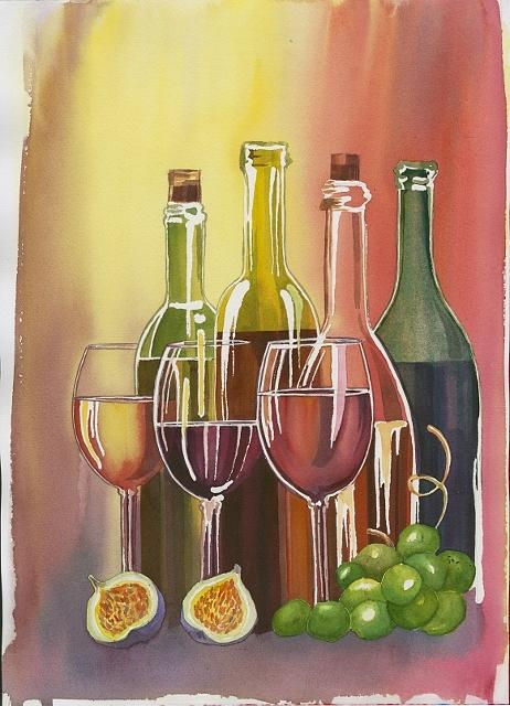 Wine Painting - Wine by Elena Mahoney