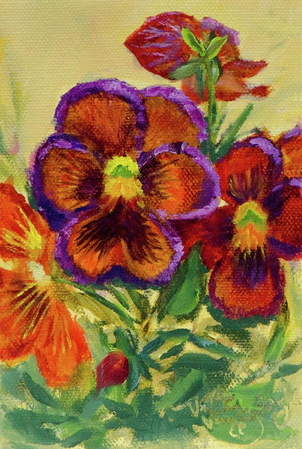 Seed Packet Painting - Wine Flash Pansies 2 by Vicki VanDeBerghe