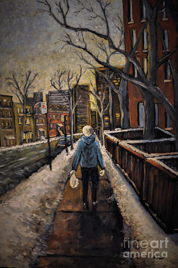 Montreal Painting - Winter In The City by Reb Frost