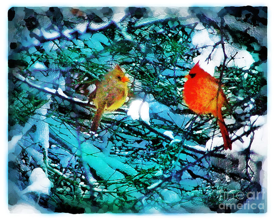 Christmas Cards Digital Art - Winter Love by Gina Signore