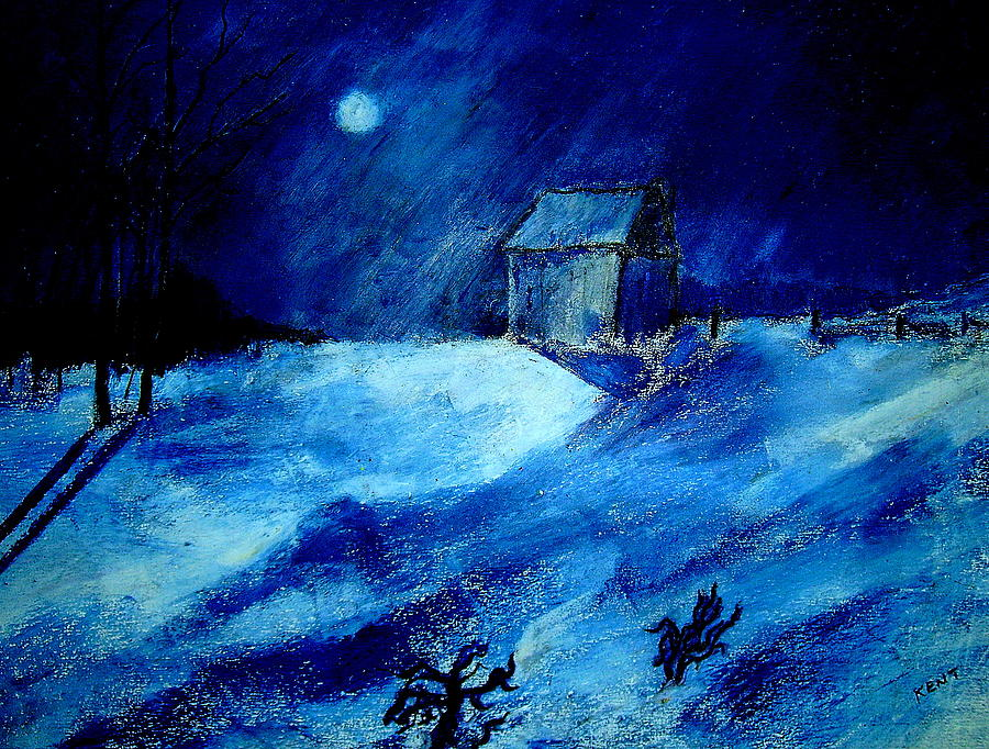 Landscape Painting - Winter Moon by Kent Whitaker