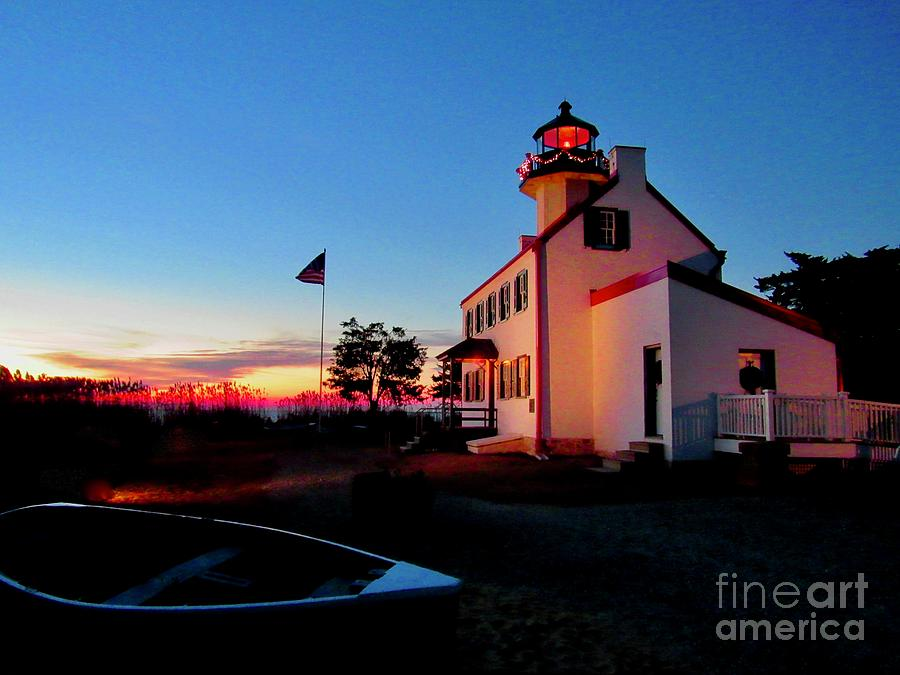 Winter Sunset At East Point Lighthouse by Nancy Patterson
