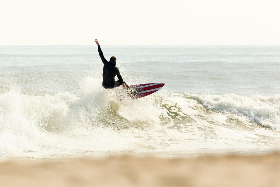 Beach Photograph - Winter Surfer On Sunny Day by Erin Cadigan