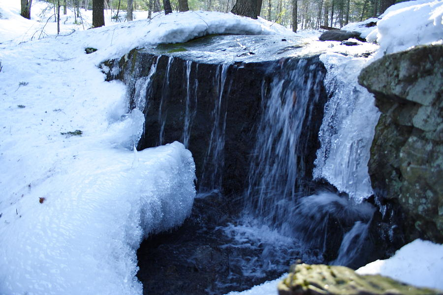 Seascape Photograph - Winter Waterfall by Doug Mills