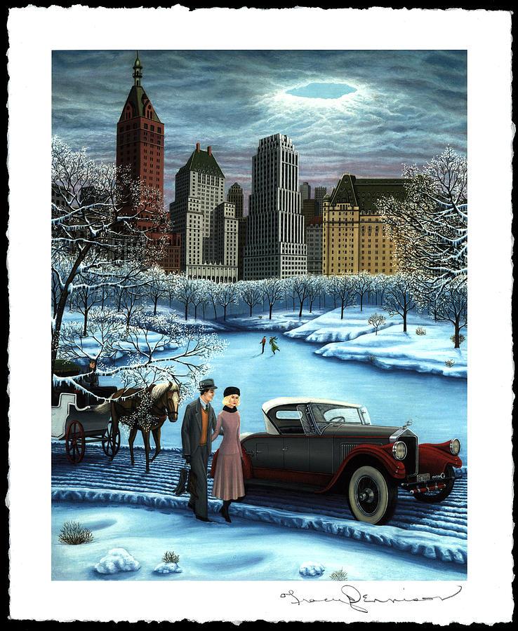 Plaza Hotel Painting - Winter Wonderland by Tracy Dennison