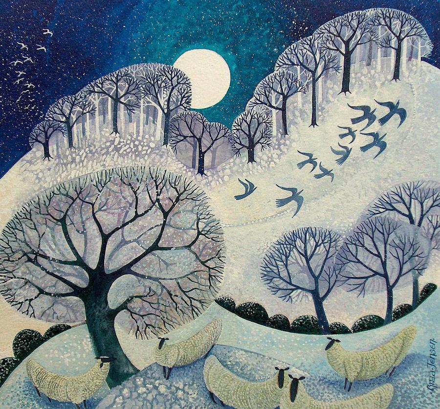 Moon Painting - Winter Woolies by Lisa Graa Jensen
