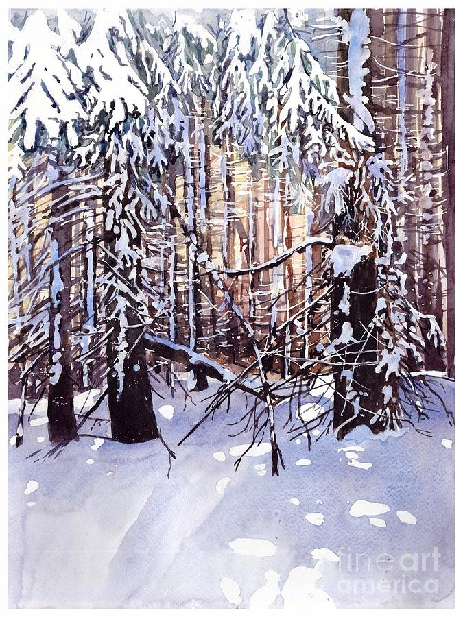Winter Painting - Wintertime Painting by Suzann Sines