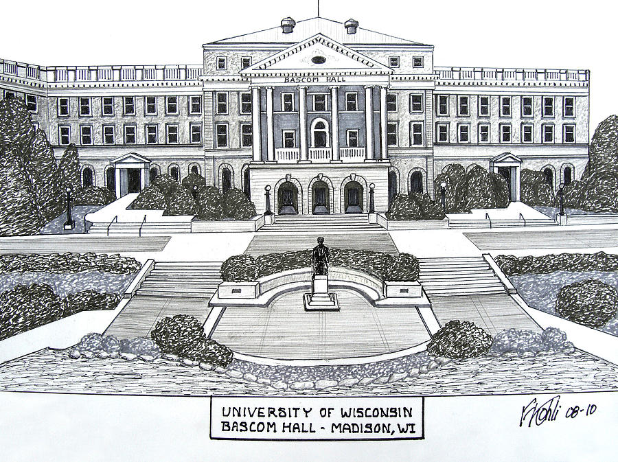Pen And Ink College Buildings Drawings Drawing - Wisconsin by Frederic Kohli