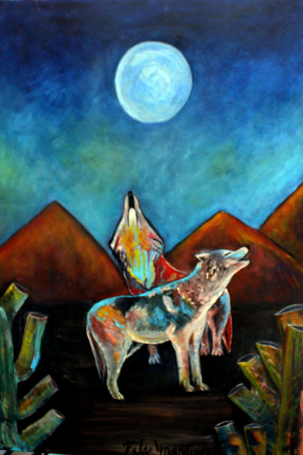 Wolves Painting - Wolves Howling At The Moon by Pilar  Martinez-Byrne