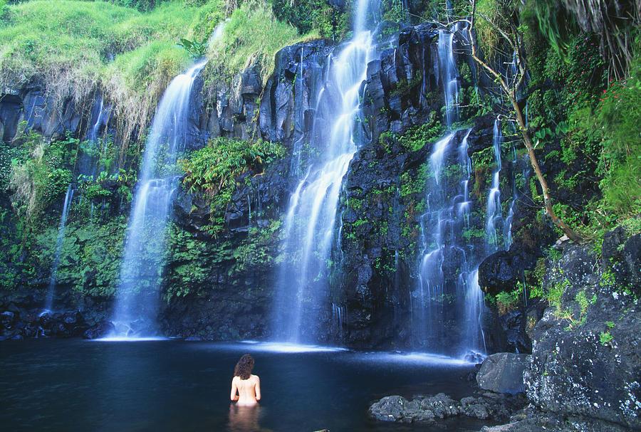 Base Photograph - Woman At Waterfall by Dave Fleetham - Printscapes