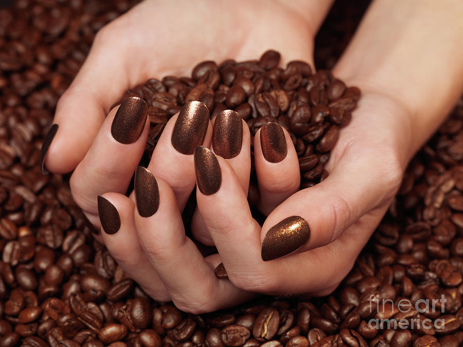 Coffee Photograph - Woman Holding Coffee Beans In Her Hands by Oleksiy Maksymenko