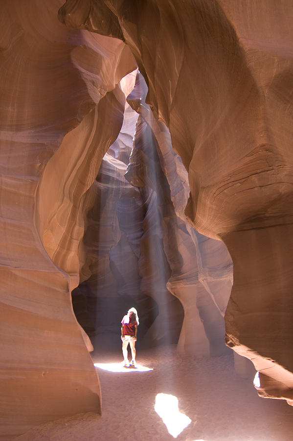 Woman In Antelope Canyon Photograph