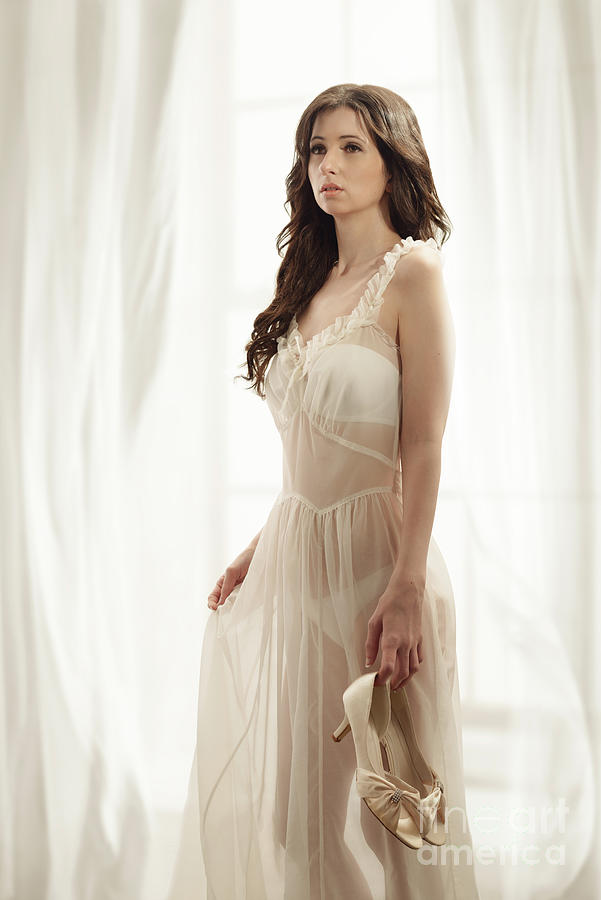 Negligee Photograph - Woman In Vintage Negligee by Amanda Elwell