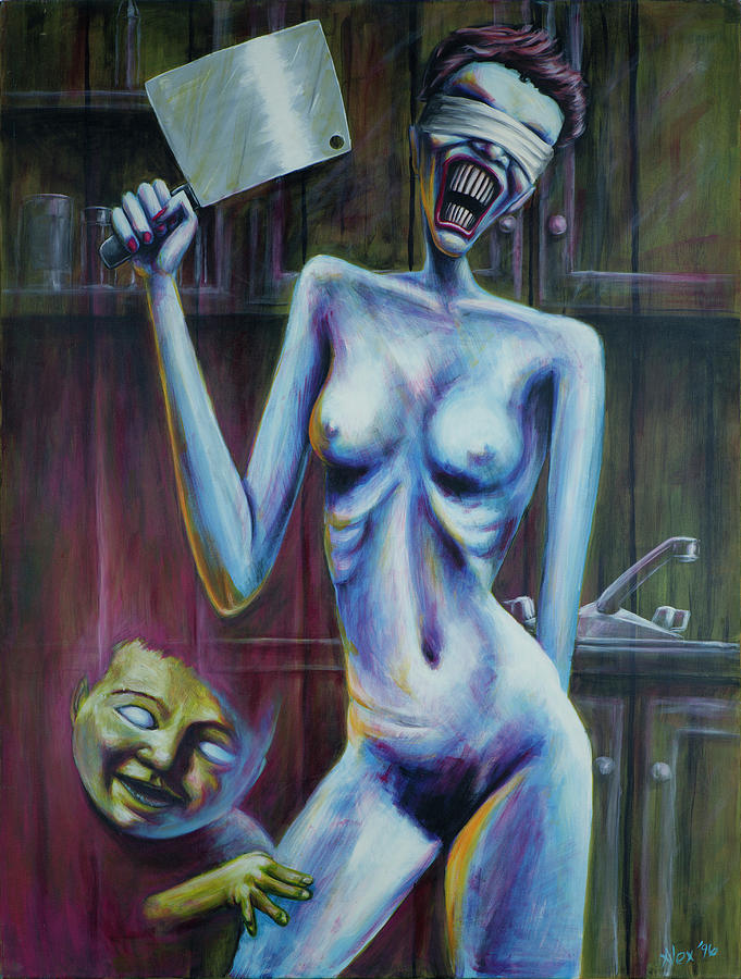 Woman With Cleaver by Alex Abel