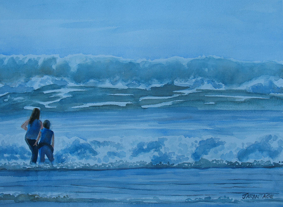Women Painting - Women In The Surf by Jenny Armitage
