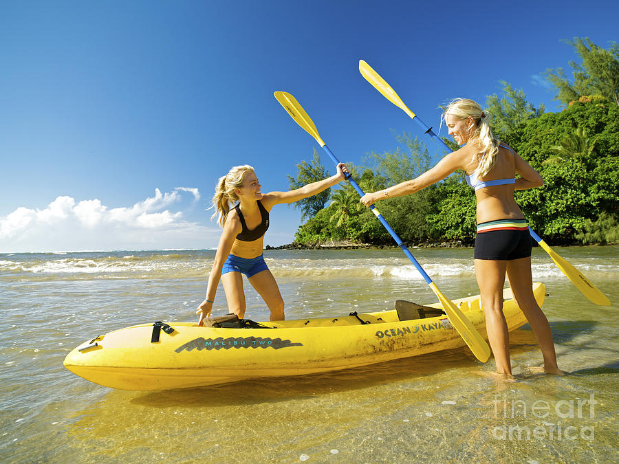Active Photograph - Women Kayakers by Kicka Witte - Printscapes