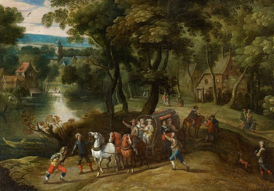 Flemish School Painting - Wooded Landscape With Robbers by MotionAge Designs
