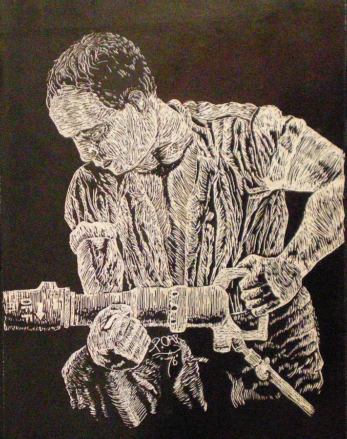 Scratch-board Drawing - Working Man by Tammera Malicki-Wong