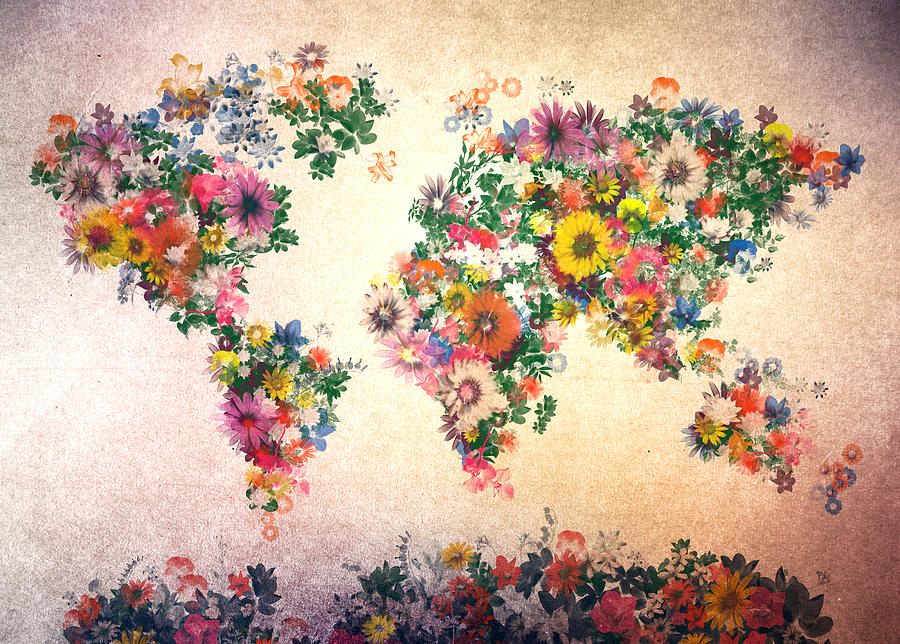 World Map Floral 9 Painting By Bekim Art