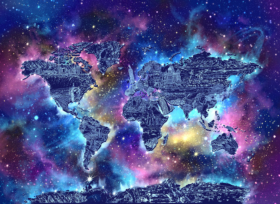 World map galaxy 4 digital art by bekim art world map digital art world map galaxy 4 by bekim art gumiabroncs Gallery