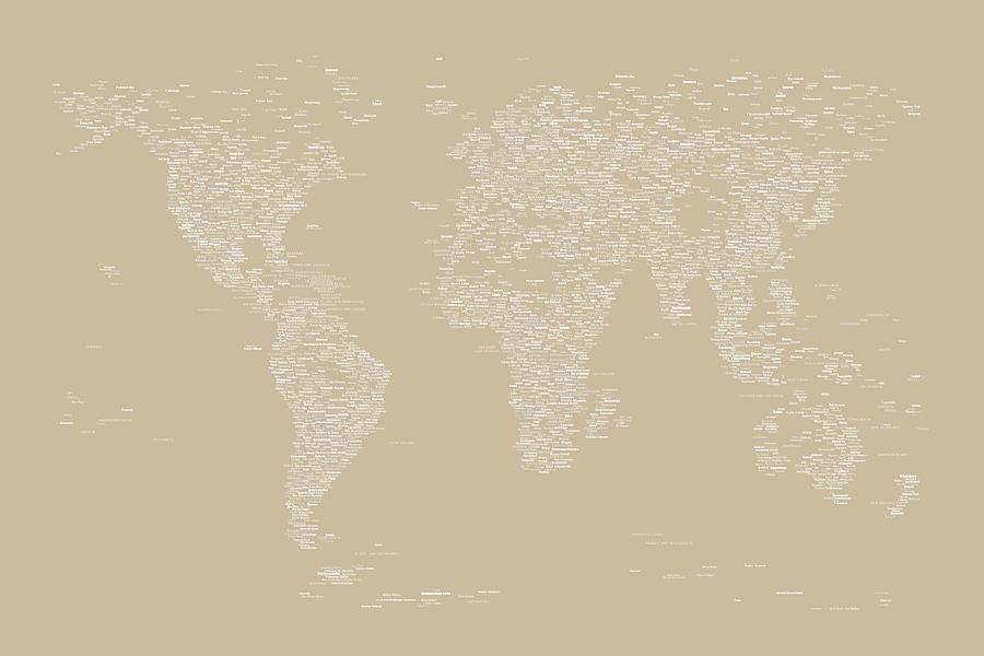 World Map Digital Art - World Map Of Cities by Michael Tompsett