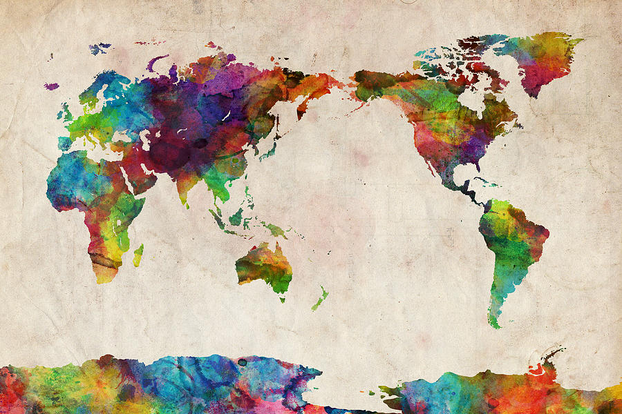 World Map Urban Watercolor Pacific Digital Art By Michael Tompsett
