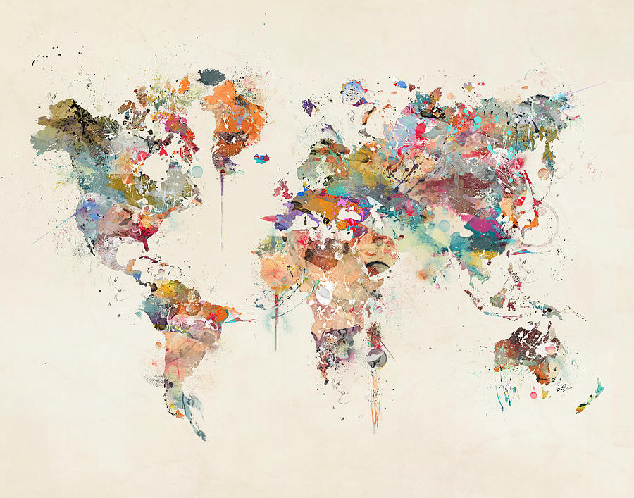 World map watercolor painting by bleu bri world map painting world map watercolor by bleu bri gumiabroncs Gallery