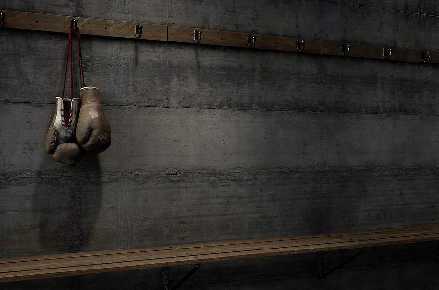 Worn Digital Art - Worn Vintage Boxing Gloves Hanging In Change Room 1 by Allan Swart