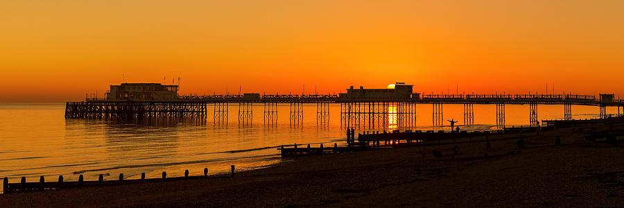 Worthing Pier Sunset by Len Brook
