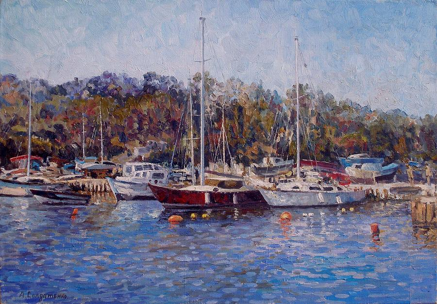 Impressionism Painting - Yahts At The Black Sea by Andrey Soldatenko