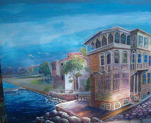 Landscape Painting - Yali by Fahrettin  Oktay