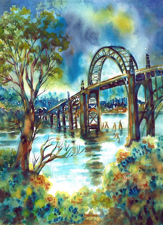 Newport Painting - Yaquina Bay Bridge by Ann Nicholson