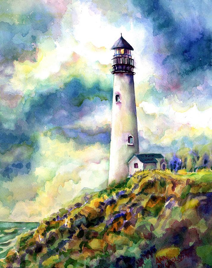 Painting Painting - yaquina Head Lighthouse by Ann Nicholson