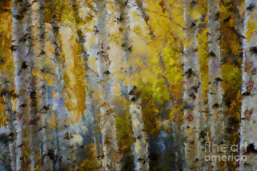 Aspens Mixed Media - Yellow Aspens by Marilyn Sholin