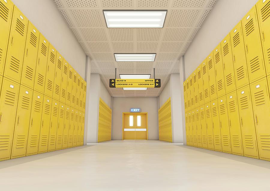 Locker Digital Art - Yellow School Lockers Light 1 by Allan Swart