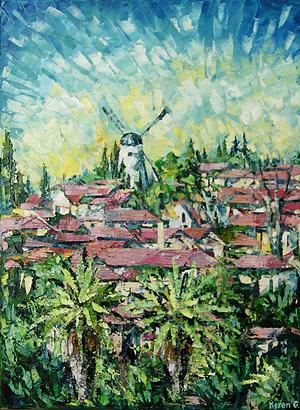City Landscape Painting - Yemin Moshe by Keren Gorzhaltsan
